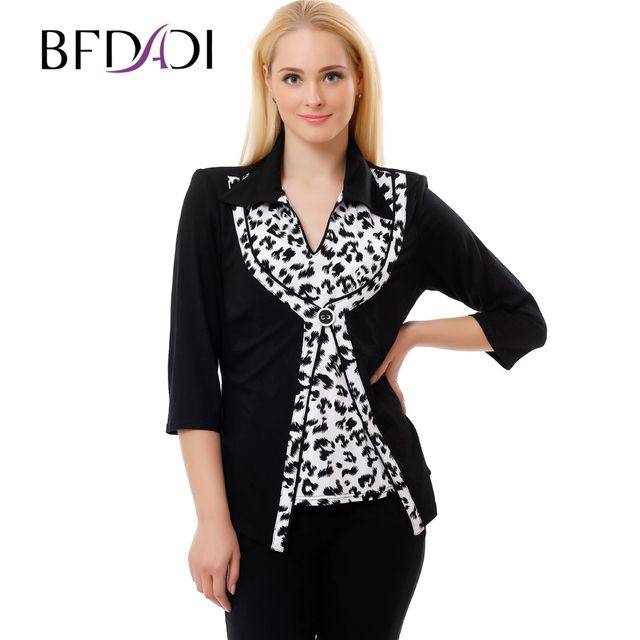 BFDADI 2016 Plus Size Women Clothing Autumn Style 4xl 5xl 3/4 Sleeve lapel Soft Loose Plus Size Tunic Shirts 7-9371