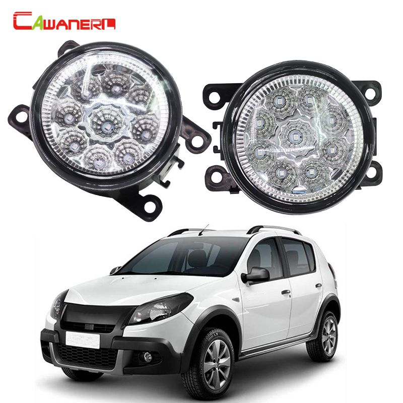 Cawanerl Car Styling LED Light Fog Lamp DRL Daytime Running Light 12V DC 1 Pair For Renault SANDERO STEPWAY Hatchback 2009-2015