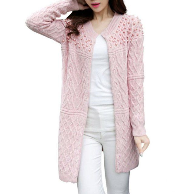Women Long Cardigan Autumn Bead Pearl Long Knitted Sweaters Outwear Long-Sleeve Casual Loose Female Sweater Cardigan N2