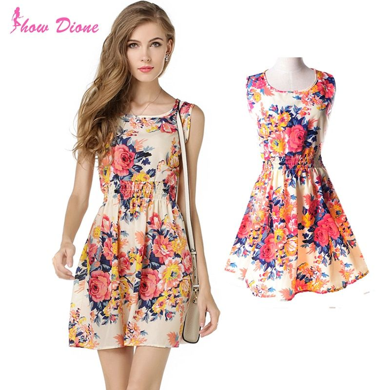 12 Style Floral Summer Dress 2016 Women Casual Bohemian Mini Sleeveless Vest Plus Size Printed Chiffon Beach Dresses Vestidos