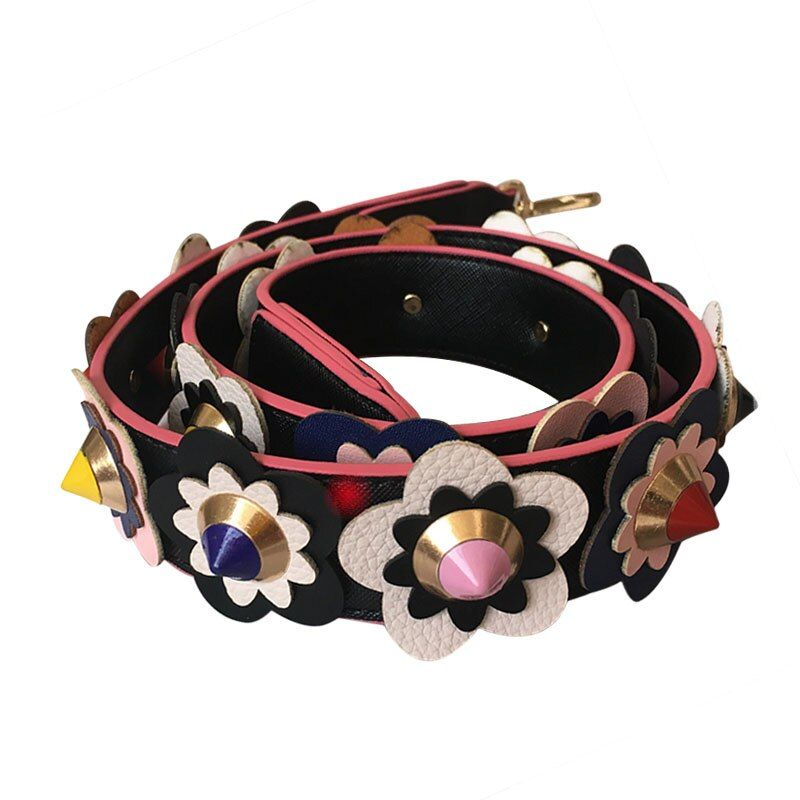 Flowers strap 2016 New Leather handbag strap Fashion Tide Women Handbag Belt Bolsa Bag Accessories Gifts Belt Bag Strap DY030