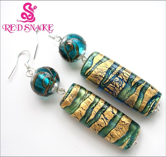 RED SNAKE Fashion Dangle Earrings Handmade Classic  Green and golden Paper Long Rectangle Murano Glass Bead Earring