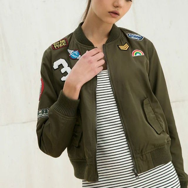 Fashion Army Green Women Bomber Jackets 2016 Female Coat Flight Suit Casual Print Jacket Embroidered Patches Women Jacket Coats