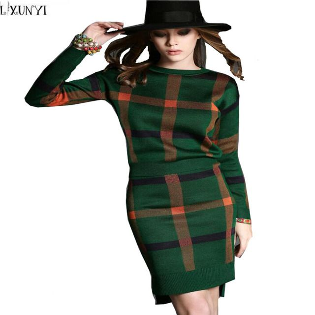 2017 Spring Autumn Women Skirt Suits Europe New two pcs Knitted Skirts Suits Female Cashmere Plaid Skirts Sets Long Sleeve