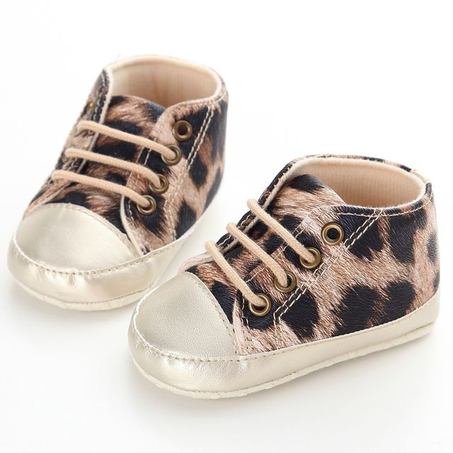 Fashion Branded Leopard Baby Shoes Girl Infant Sport Sneakers Soft Sole Kids Boots Girls Toddler Booties First Walker Chaussures