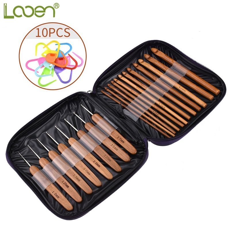 Looen 20pcs Bamboo Crochet Hook Knitting Needles Knit With Bag Weave Yarn Crafts Sweater Scarf Hat Tool With 10pcs Stitch Makers