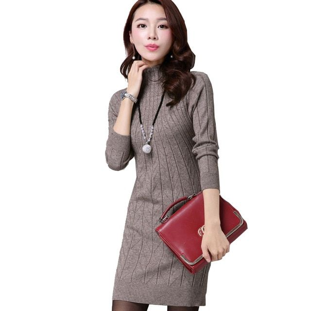 2016 New Arrival Women Autumn/Winter Dress 5 Colors Knitting Warm Sheath Plus Size S-3XL Casual Women's dresses vestidos