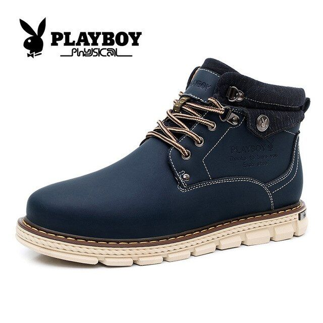 Playboy men's shoes new high help Snow Boots Men's Boots to keep warm help take CX37134 casual shoes