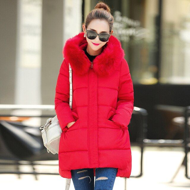 2016 New Winter Jacket Women Large Fur Collar Hooded Jacket Thick Coat For Women Outwear ParkaCoatscasacos de inverno feminino
