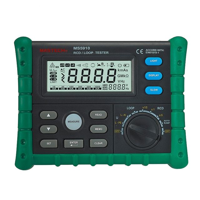 MASTECH MS5910 RCD/Loop Resistance Tester Meter Circuit Trip-out Current Time Detector with USB Interface