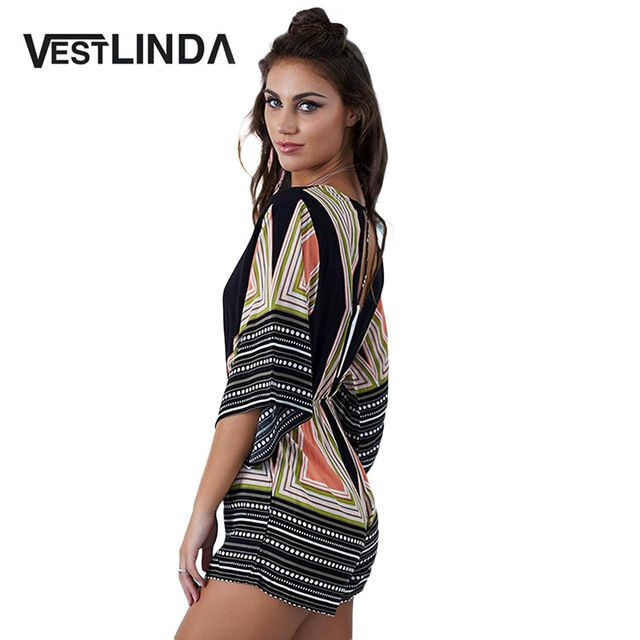 VESTLINDA Fashion Women Jumpsuit Sexy Deep V Neck Print Drawstring Retro Style Flare Sleeve Printed Drawstring Women Romper