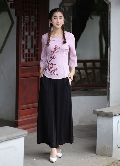 New Arrival Pink Black Chinese Women's Shirt Pants Sets Cotton Linen Tang Suit Clothing Size S M L XL XXL XXXL 2618-2
