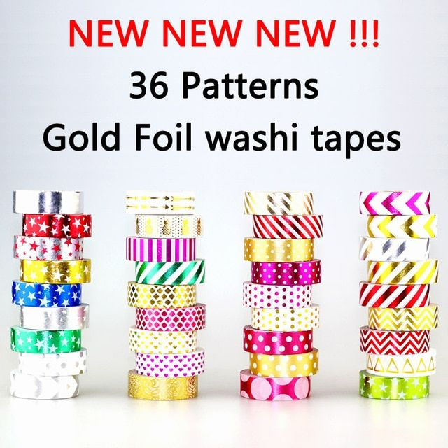 NEW 1X 15mm*10m Gold Foil Paper Tapes Print Scrapbooking Christmas DIY Sticky Deco Masking Japanese Foil Washi Tape Paper Lot