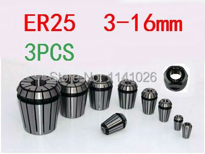 Free Shipping 3PCS for Choose ER ER25 Collet Chuck for Spindle Motor Engraving/Grinding/Milling/Boring/Drilling/Tapping