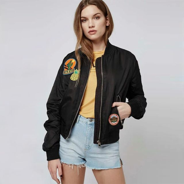 Vintage MA1 Flight Bomber Jackets Embroidered Patches Women Jet-setting Style Pilot Outfits Veste Femme Manche Longue Coats