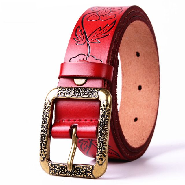 Printing Beautiful Flower High Quality Genuine Leather Mens Belt Luxury Fashion Casual Pin  Buckle Designer Cowhide Strap 40