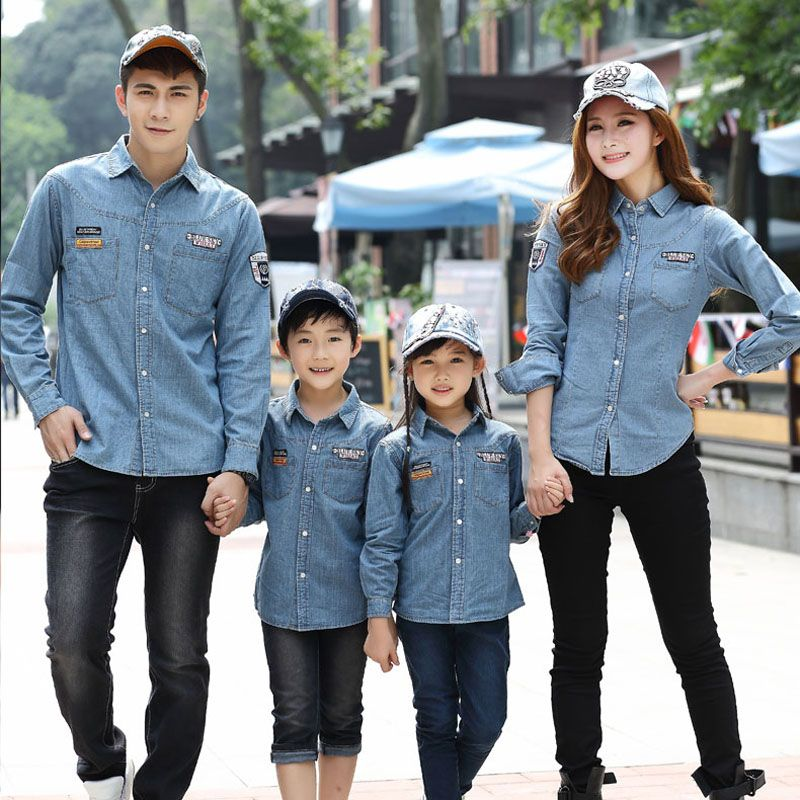 Matching Family Clothing Denim Jacket 2016 Spring Family Look Matching Mother Daughter Jeans-shirt Father Son Denim Shirts