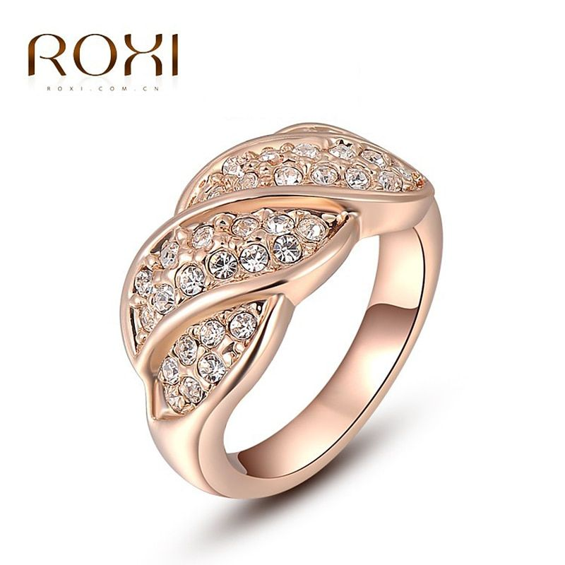 ROXI Leaf Ring for Women Lovers Natural Stone super junior Engagement Wedding Rings Rose Gold Color Big Finger Ring Jewelry
