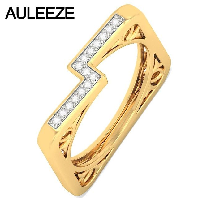 Vintage Unique Square Design Natural Diamond Wedding Band 14K Solid Yellow Gold Real Diamond Rings For Women Party 585 Gold Ring