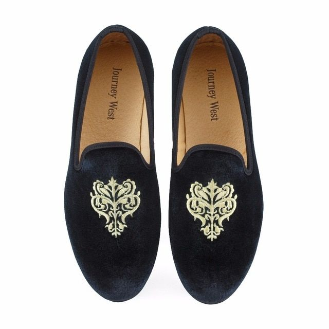 New Fashion Men Velvet Loafers Prom Shoes Slip-on Men's Flats Smoking Slippers Embroidery Party and Wedding Loafer Size US 7-13
