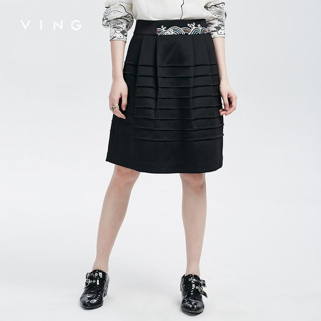 VING 2017 Skirt Autumn New High Waist A-line Skirt Black Women Slim Temperament