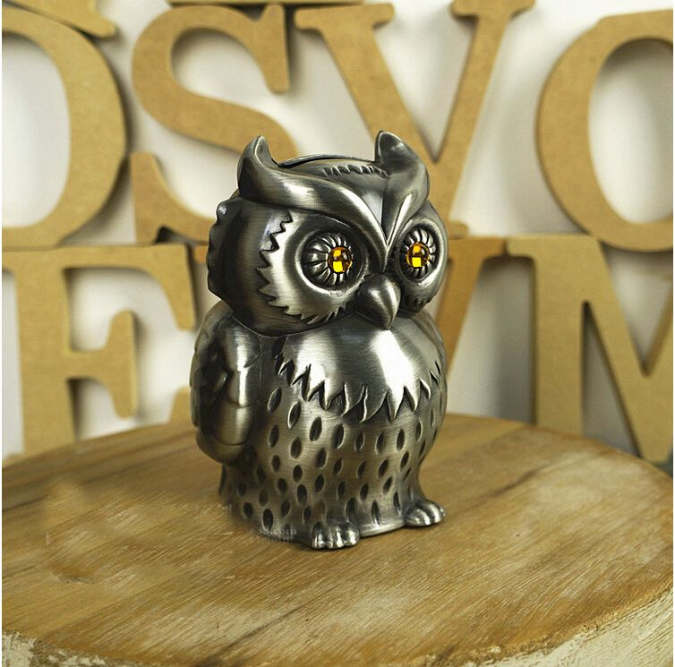 New Arrival Vintage metal Money box Luxury lovely owl coin piggy bank for children Saving Box creative gift birthday gift