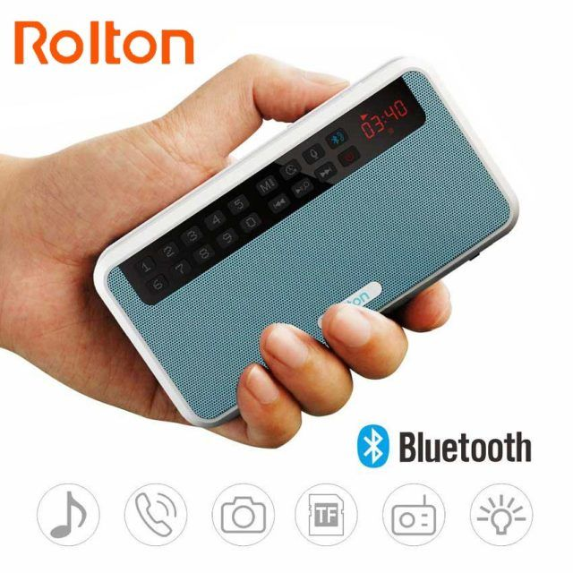 Rolton E500 Portable Stereo Bluetooth Speakers FM Radio Clear Bass Dual Track Speaker TF Card USB Music Player And Flashlight
