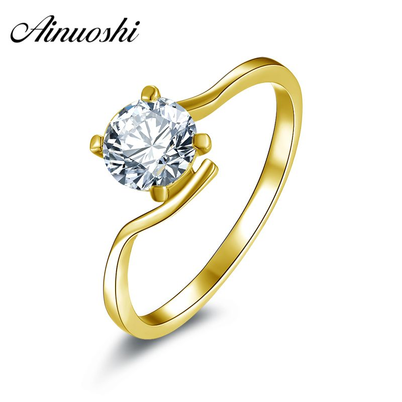AINUOSHI Classic 4 Claws Flower Solitaire Ring 14K Solid Gold Simulated Diamond Twisted Band Brand Wedding Engagement Women Ring