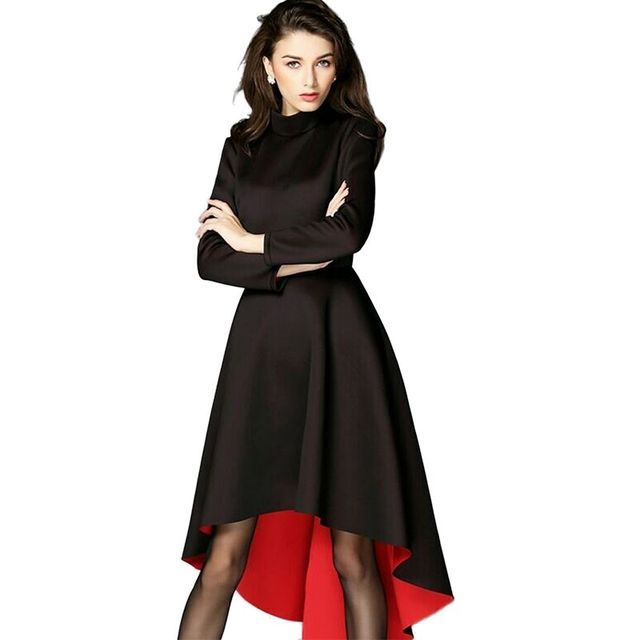 Atutumn Irregular Vintage Space Dress 2015 High Quality Brand Women Long Sleeves Black Cotton Novelty Space Dress Vestidos