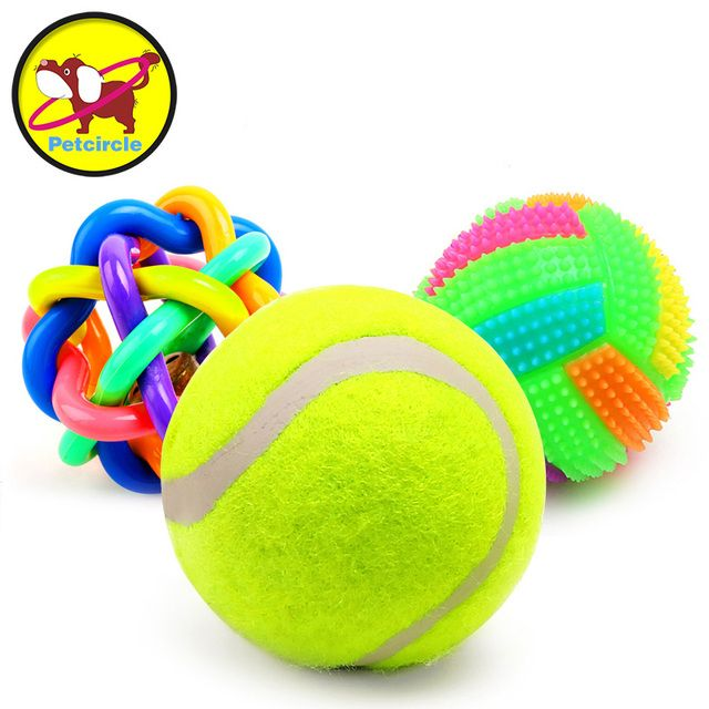 3 pieces/lot 2017 petcircle new pet dog toys squeak rubber dog toys ball for puppy 9 styles dog chew toys for dogs free shipping