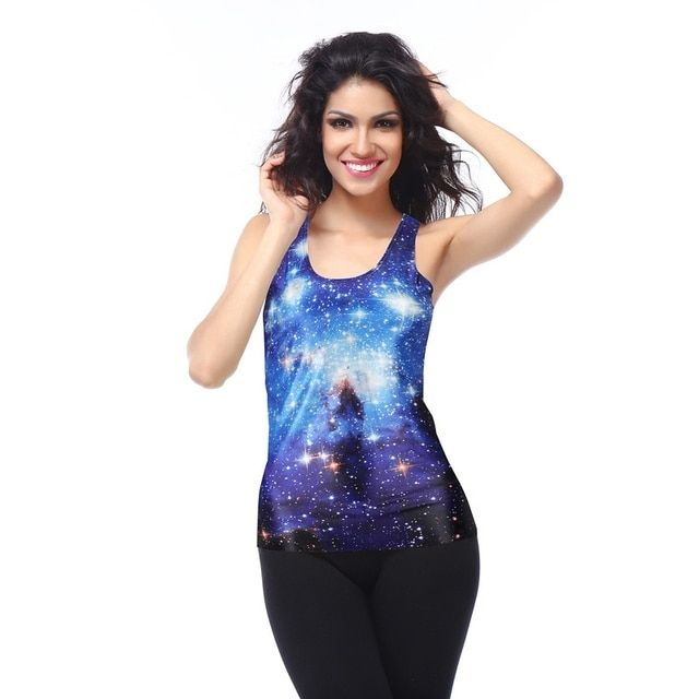 2017 New Hot Sale Top Fashion Tank Tops Summer Sexy Blue Galaxy Space Camisole Print Tanks Women Female Sleeveless Sbd9401