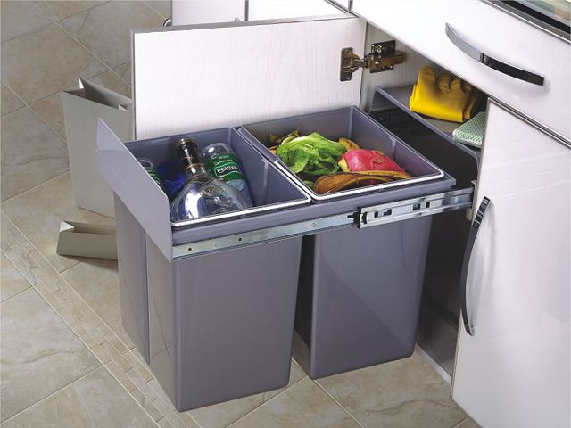 2*20L Soft Close Pull out dustbin recycle trash  bin waste container bottom mounted kitchen Sink Cabinet  Canbintry
