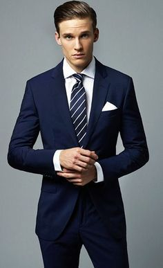 2017 custom made business suits for men Navy Blue Groom Tuxedos 2 Piece Mens Wedding Prom Dinner Suits herren anzug