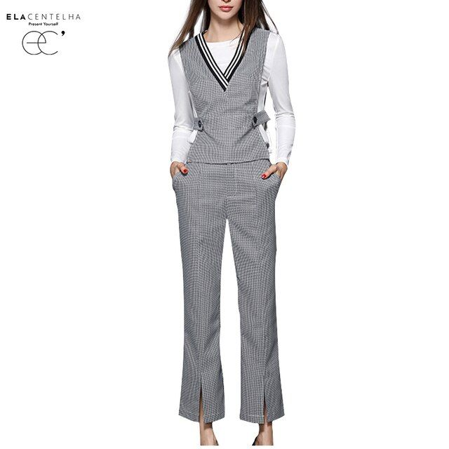 ElaCentelha Women Sets Plaid Autumn Winter Three 3 Piece Set Plus Size Women 2016 New Winter Suits Woman Casual OL Sets