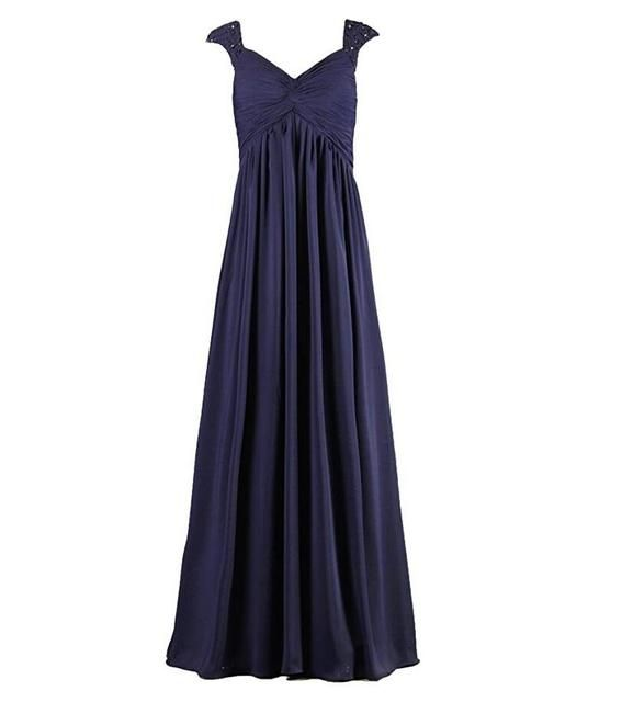 Long Navy Bridesmaid Dresses for Pregnant Woman Beaded Capped Sleeves Ruched Bodice vestido largo fiesta boda 2017