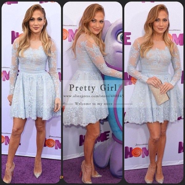 jennifer lopez Red Carpet dress Sexy Elegant Short Celebrity Dresses 2016 Sheer Long Sleeve Prom Party Gowns Cheap High Quality