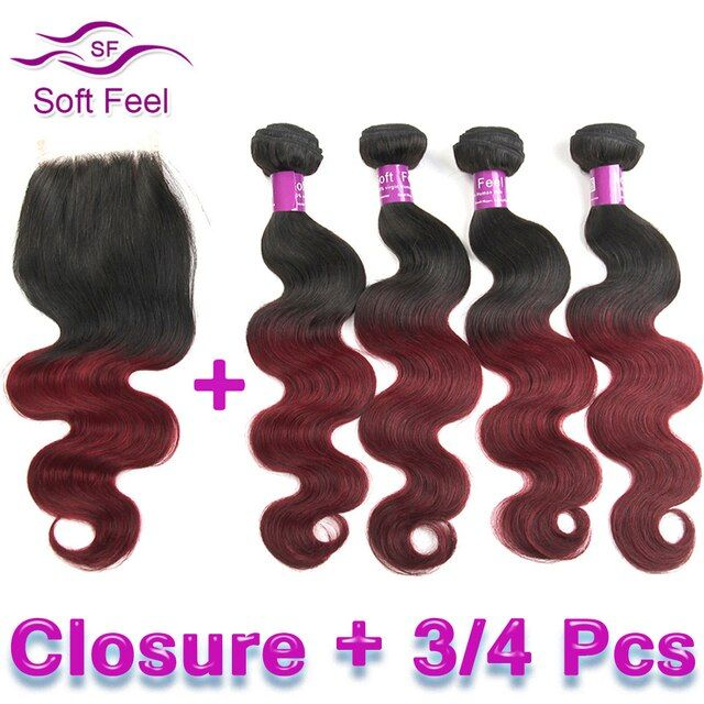 Red Ombre Brazilian Virgin Hair With Closure Body Wave 3/4 Bundles 99J Ombre Burgundy Brazilian Hair Weave Bundles With Closure
