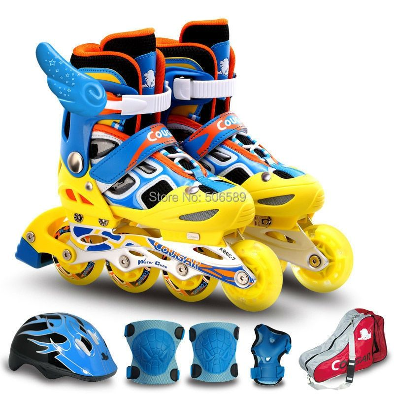 free shipping roller skates children ms 835 with helmet safety and bag size adjustable
