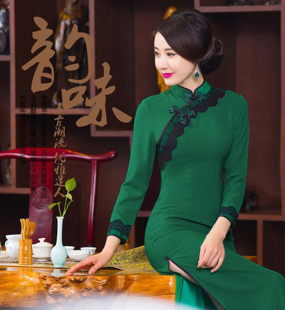 Elegant lace Cheongsam sexy dobby Women Chinese dress long Vintage vestidos Party Dress Size:S -3XL