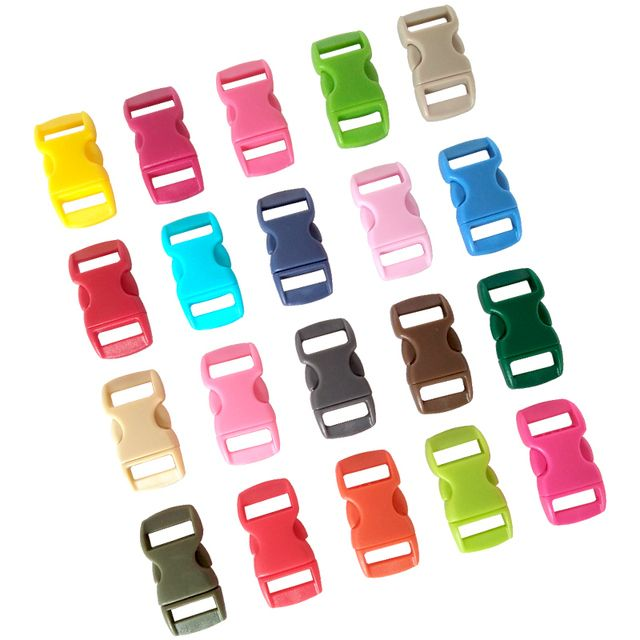 "1000 pcs 3/8"" Mix Color Shackle Contoured Curved Side Release Plastic Buckle for Paracord Bracelet"
