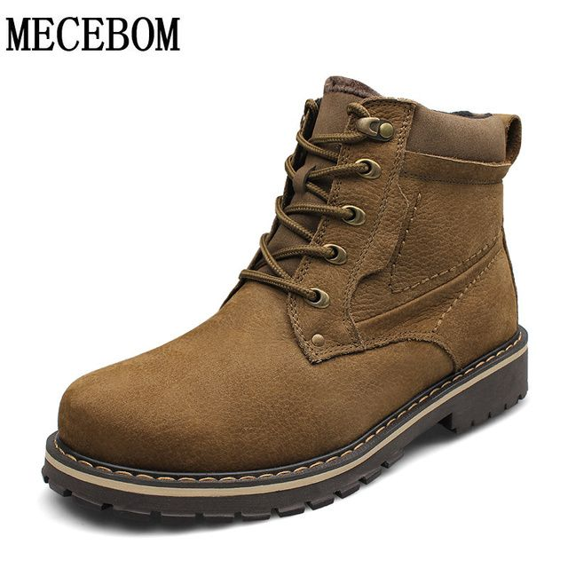 Men's winter boot big size 37-50 genuine leather shoes luxury warm plush ankle boots quality men casual shoes 99188M