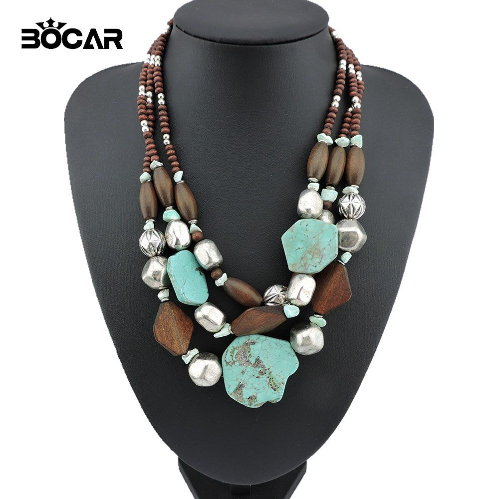 2017 Trendy Fashion Women's Multilayer Chunky Necklace Bohemia Style Big Stone Pendant Choker Statement Necklace Jewelry #10124