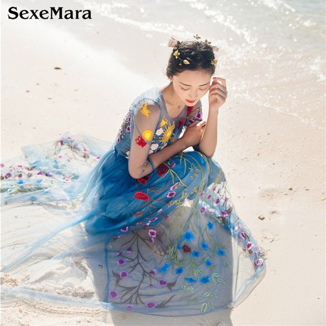 SexeMara Runway Dresses 2017 Gorgeous Mesh Sheer Layer Floral Embroidery Dress Long Boho Style Self Portrait Beach Vestidos