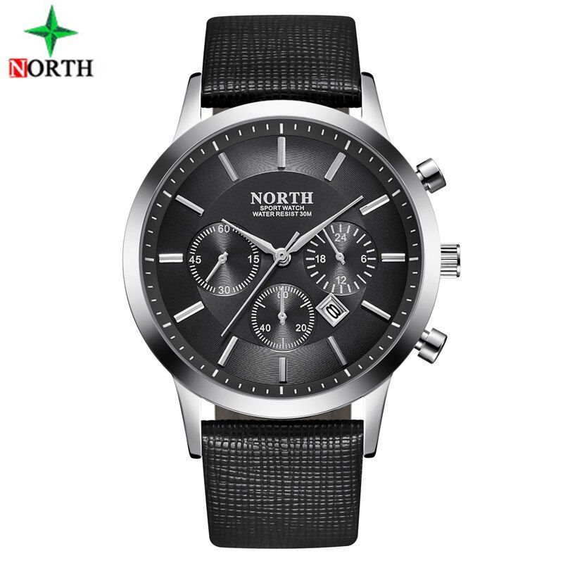 Sport Watch Men Leather NORTH Mens Watches Top Brand Luxury Watch Clock Waterproof Quartz Military WristWatch Men Sport Watches