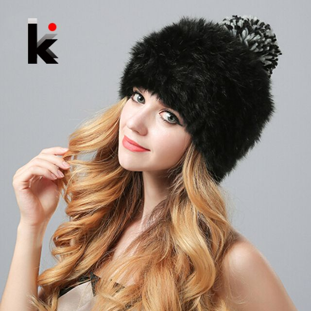Nature Rex Rabbit Fur Hat Vogue Cap Female Knitted Real Fur Beanie Winter Caps Cute Hats For Women Free Shoping