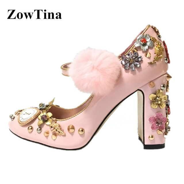 Women Pink Rhinestone Pumps Fur Ball Chunky High Heels Dress Wedding Shoes Woman Mary Janes Rivets Zapatos Mujer Chaussure