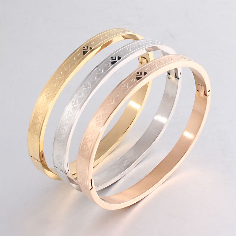 2017 Hot Sell Girl's Fashion Cuff Bracelet Luxury Stainless Steel Open Cuff Bracelets&Bangles for Women Jewelry 619