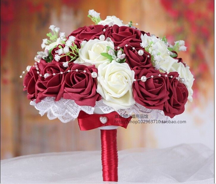 Beauty Burgundy & Cream White Artificial Rose Flowers Handmade Decorative Bride Bridal Crystal Lace Accents Wedding Bouquets