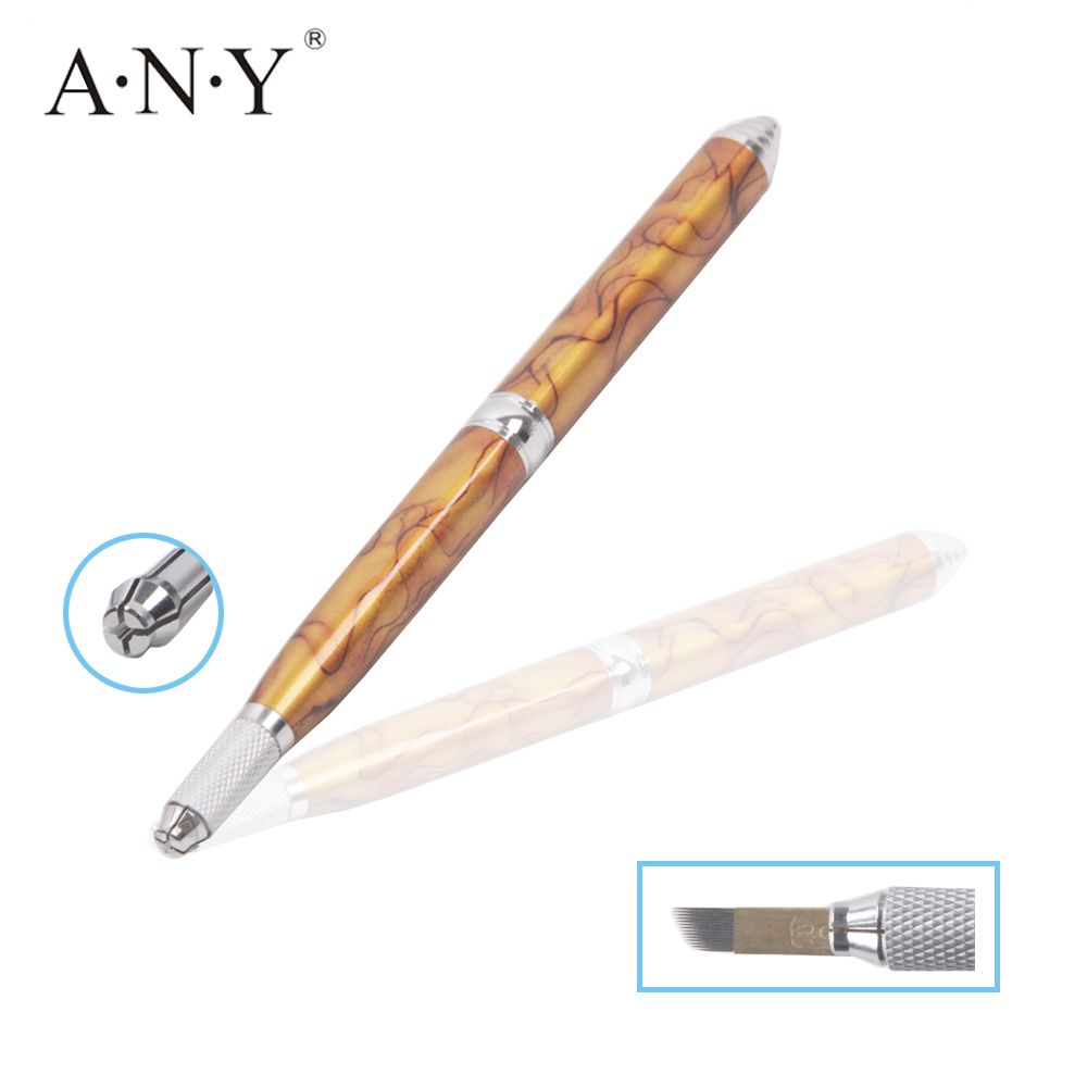 10PCS/Lot ANY Brown Metal Handle Single Head Disposable Microblading Manual Eyebrow Tattoo Pen