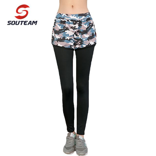 SOUTEAM Brand Womens Fitness Running Pant Leisure Tights Sexy Gauze High Elastic Leggings  Mallas Mujer Deportivas #S150047D